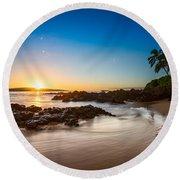 Secret Beach Sunset Round Beach Towel