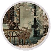 Round Beach Towel featuring the photograph Secret Garden by Lauren Radke