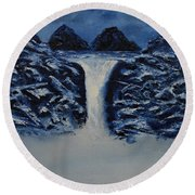 Round Beach Towel featuring the painting Secret Places by Shawn Marlow