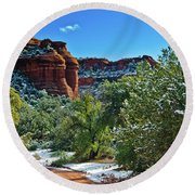 Round Beach Towel featuring the photograph Sedona Arizona - Wilderness Area by Bob and Nadine Johnston