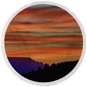 Sedona Az Sunset 2 Round Beach Towel