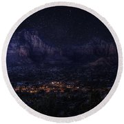 Round Beach Towel featuring the photograph Sedona By Night by Lynn Geoffroy