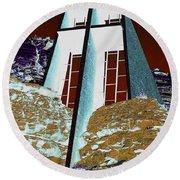 Sedona Rock Church Round Beach Towel