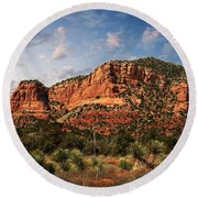 Round Beach Towel featuring the photograph Sedona Vortex  And Yucca by Barbara Chichester