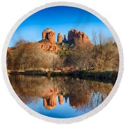 Sedona Winter Reflections Round Beach Towel
