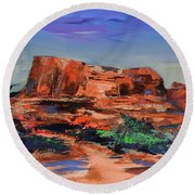 Round Beach Towel featuring the painting Sedona's Heart by Elise Palmigiani