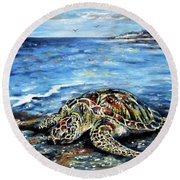 See Weed Turtle Round Beach Towel