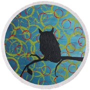 Round Beach Towel featuring the painting Seer by Jacqueline McReynolds