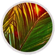 Sego Frond Fire Round Beach Towel