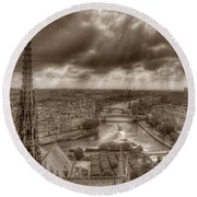 Seine From Notre Dame Round Beach Towel
