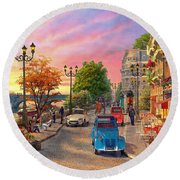 Seine Sunset Round Beach Towel