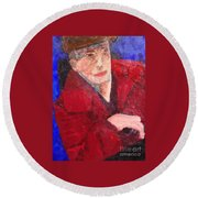 Round Beach Towel featuring the painting Self-portrait by Donald J Ryker III