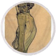Round Beach Towel featuring the painting Self-portrait With Arm Twisted Above Head by Egon Schiele