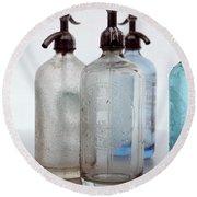 Seltzer Bottles Round Beach Towel