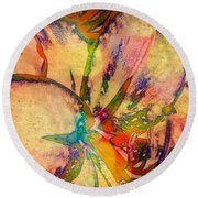 Springtime Floral Abstract Round Beach Towel