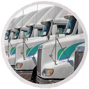 Semi Truck Fleet Round Beach Towel
