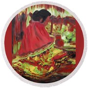 Round Beach Towel featuring the painting Seminole Indian At Work by Deborah Boyd