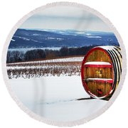 Seneca Lake Winery In Winter Round Beach Towel