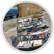 Sennen Cove Fishing Fleet Round Beach Towel
