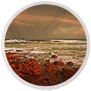 Round Beach Towel featuring the photograph Sennen Storm by Linsey Williams