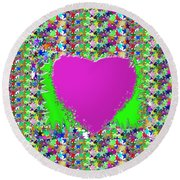 Round Beach Towel featuring the photograph Sensual Pink Heart N Star Studded Background by Navin Joshi