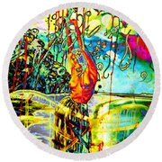 Sensuality In Rhythms And Colours Round Beach Towel