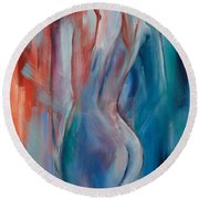 Round Beach Towel featuring the painting Sensuelle by Elise Palmigiani