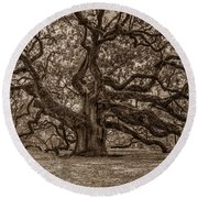 Sepia Angel Oak Round Beach Towel