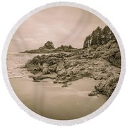 Cox Bay Sepia Round Beach Towel