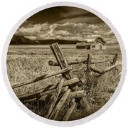 Sepia Colored Photo Of A Wood Fence By The John Moulton Farm Round Beach Towel