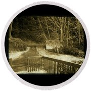 Round Beach Towel featuring the photograph Sepia - Country Road First Snow by Absinthe Art By Michelle LeAnn Scott