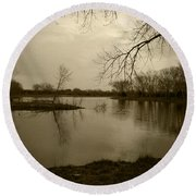 Sepia Lake Round Beach Towel