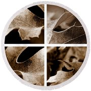 Round Beach Towel featuring the photograph Sepia Leaf Collage by Lauren Radke