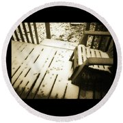 Round Beach Towel featuring the photograph Sepia - Nature Paws In The Snow by Absinthe Art By Michelle LeAnn Scott