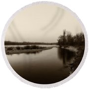 Sepia River Round Beach Towel