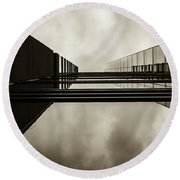 Round Beach Towel featuring the photograph Sepia Skyscraper Series - Infinity by Steven Milner