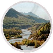 September Morning In Alaska Round Beach Towel