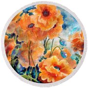 September Orange Poppies            Round Beach Towel