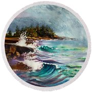 September Storm Lake Superior Round Beach Towel