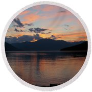 September Sunset Round Beach Towel by Leone Lund