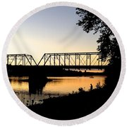 September Sunset On The River Round Beach Towel