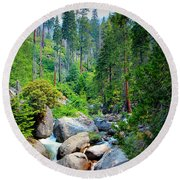 Sequoia Stream Round Beach Towel