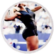 Serena Williams Catsuit Round Beach Towel by Brian Reaves