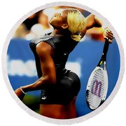 Serena Williams Catsuit II Round Beach Towel by Brian Reaves