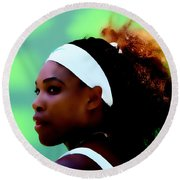 Serena Williams Match Point Round Beach Towel by Brian Reaves
