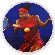 Serena Williams Painting Round Beach Towel by Paul Meijering