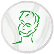Round Beach Towel featuring the mixed media Serene Face by Delin Colon