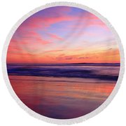 Serene Oceanside Glow Round Beach Towel