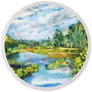 Serene Pond Round Beach Towel