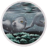 Round Beach Towel featuring the painting Serenity by Dianna Lewis